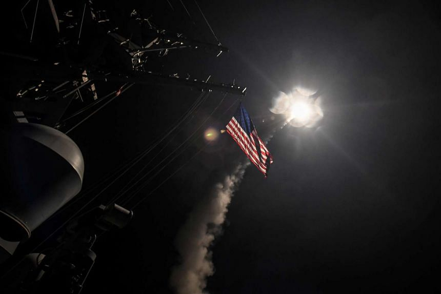 US Navy guided-missile destroyer USS Porter (DDG 78) conducting strike operations in the Mediterranean Sea against Syria on April 7, 2017.