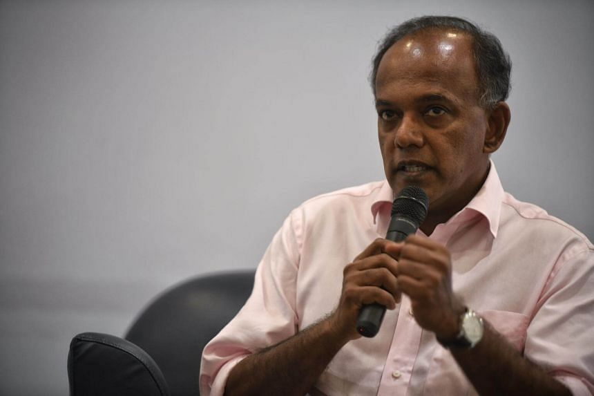 Minister for Home Affairs and Minister for Law K Shanmugam speaks during the Roses of Peace Youth Forum on April 8, 2017.