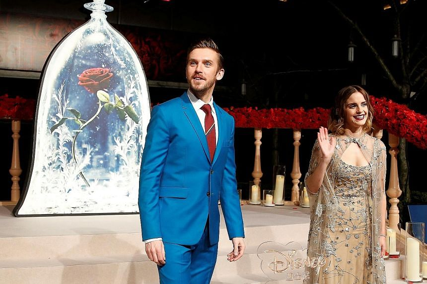 Beauty And The Beast stars Emma Watson and Dan Stevens at the movie's Shanghai premiere on Feb 27. The film has fuelled Chinese demand for related merchandise in Shanghai Disneyland.