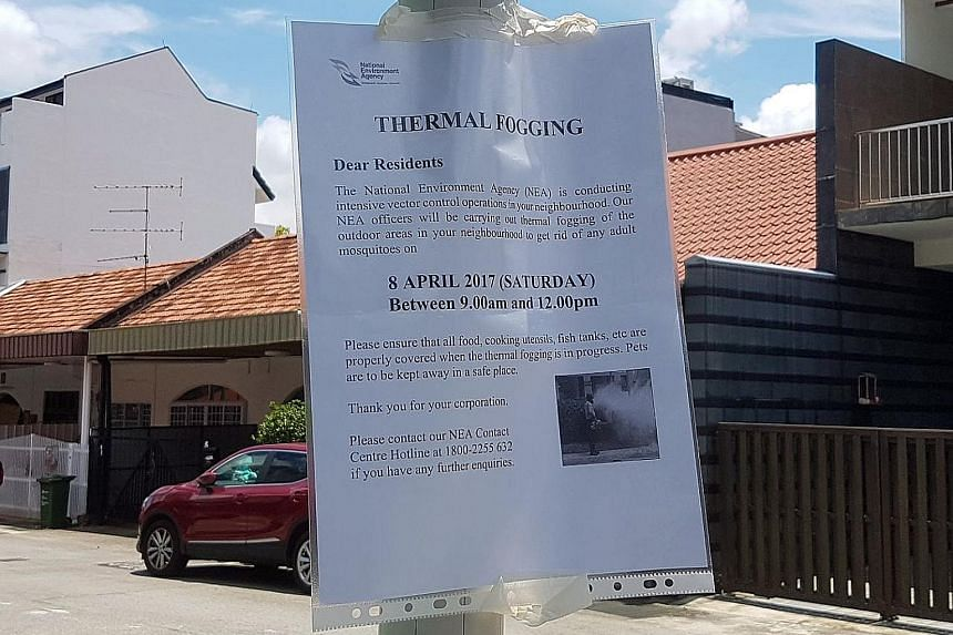 An NEA thermal fogging notice posted in Hendry Close, where the second Zika cluster of the year has been found.