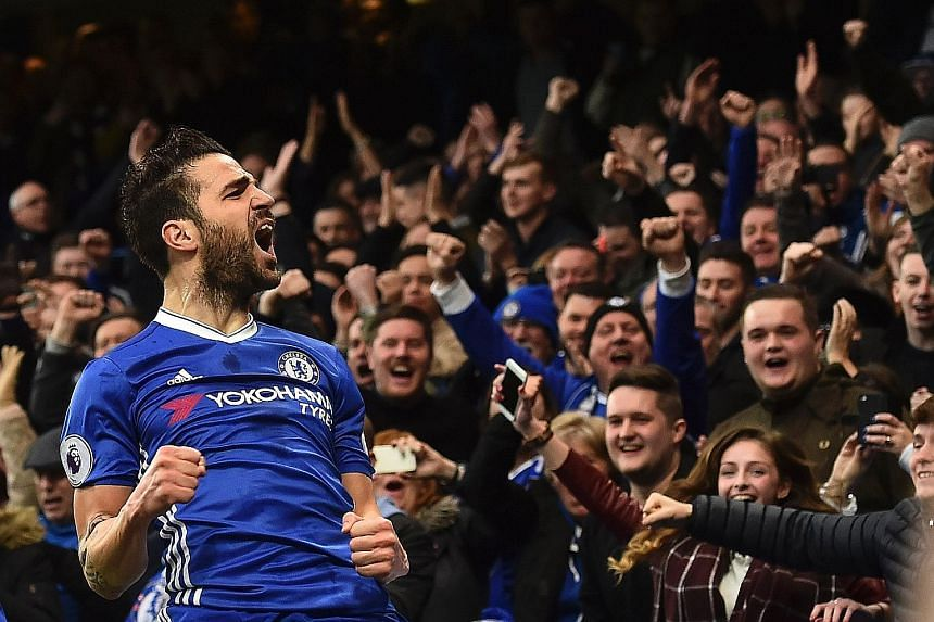 Chelsea's Cesc Fabregas celebrates scoring against Swansea on Feb 25. The midfielder said the focus is on the Blues' own performances and he is confident that his side can bounce back from anything.