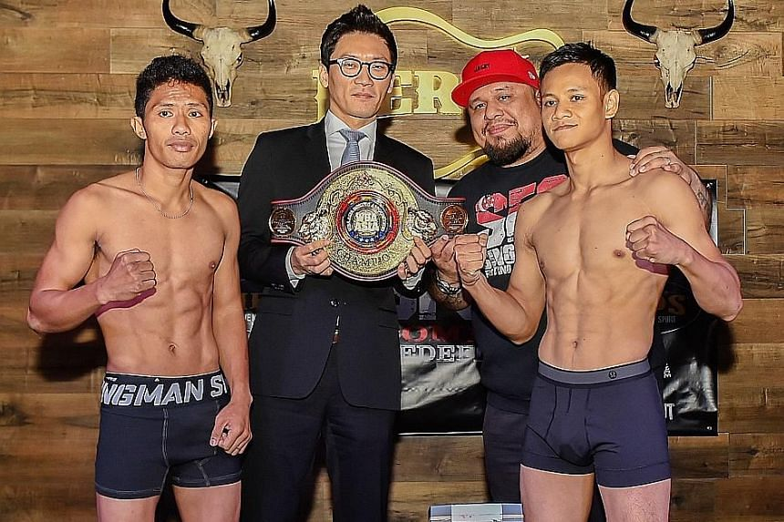 Home favourite Muhammad Ridhwan (right) will be in the main event of Singapore Fighting Championship 5: Combat Redefined at Singapore Foochow Association in Tyrwhitt Road tonight. He will take on Indonesia's Waldo Sabu for the World Boxing Associatio