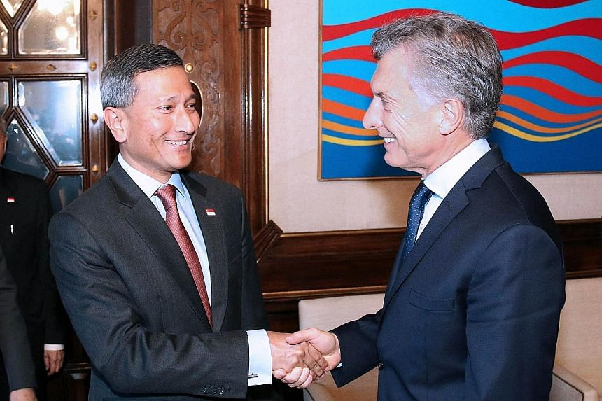 Foreign Minister Vivian Balakrishnan with Argentinian President Mauricio Macri on Thursday. Mr Macri expressed interest in using Singapore as a hub to strengthen links between Latin America and Asia.