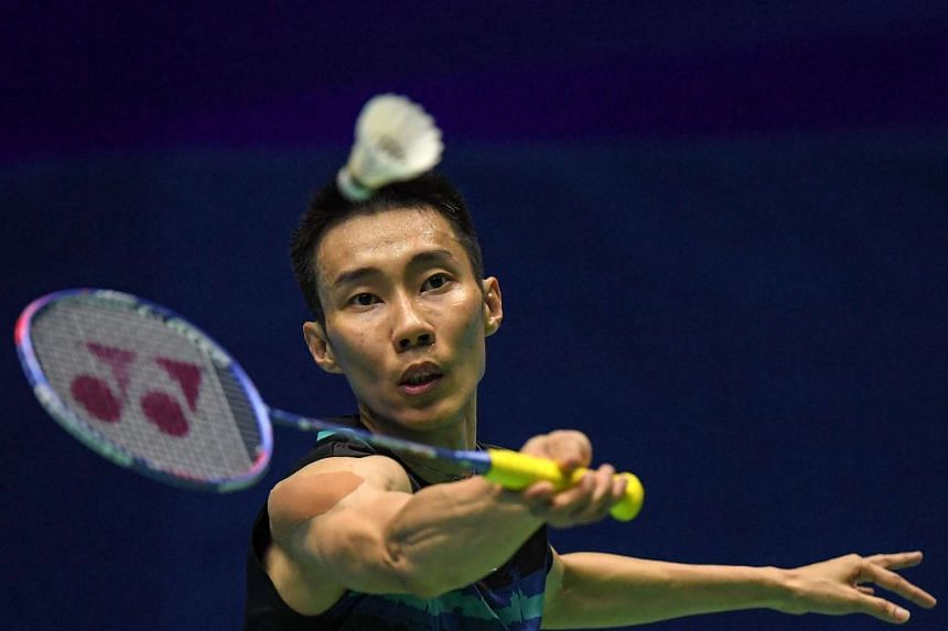 Lee Chong Wei of Malaysia hitting a return against Jeon Hyeok Jin of South Korea during their men's singles quarter-final match at the Malaysia Open Badminton Superseries in Kuching, Sarawak, on April 7, 2017.