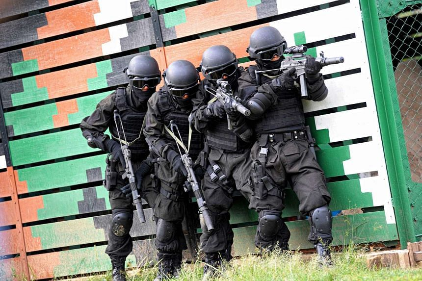 An Indonesian anti-terror police unit is seen during a training exercise in Banda Aceh on April 1, 2017.