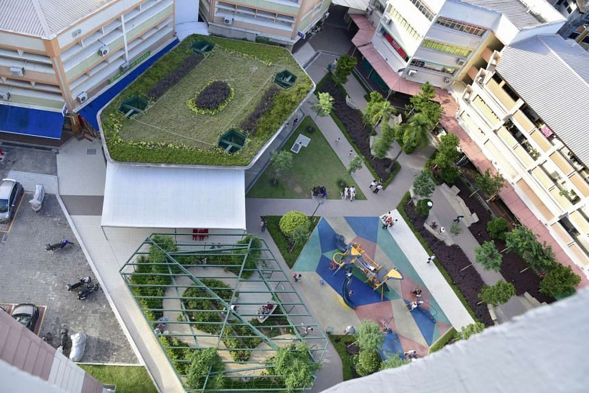 A bird's eye view of the new playground, herb garden and community pavilion at the Bukit Batok West Shopping Centre.