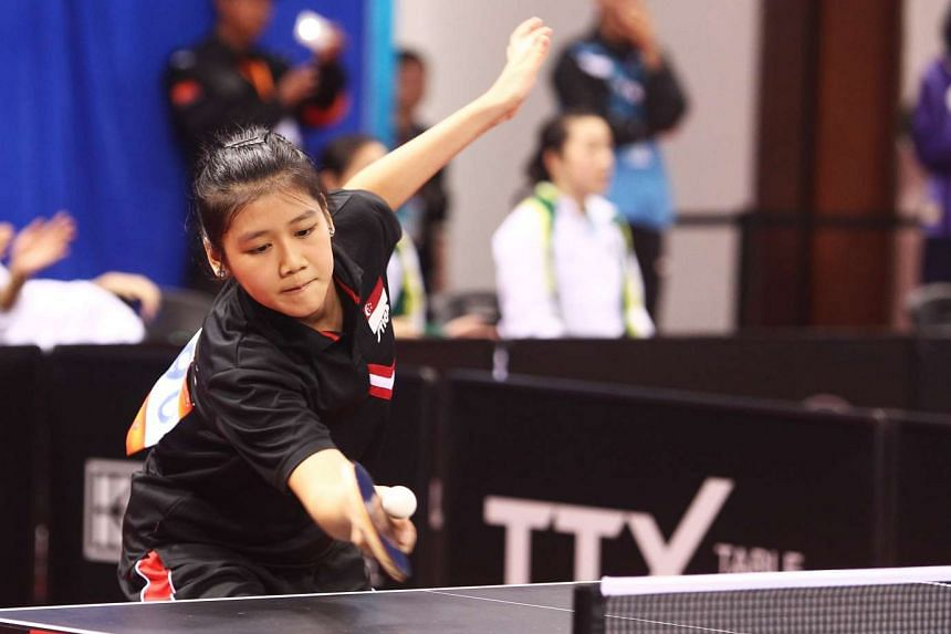 Singapore's Wong Xin Ru returning a shot to Mongolia's Bolor-Erdene Batmunkh at the Asian Table Tennis Championships in Wuxi, China, on April 9, 2017.
