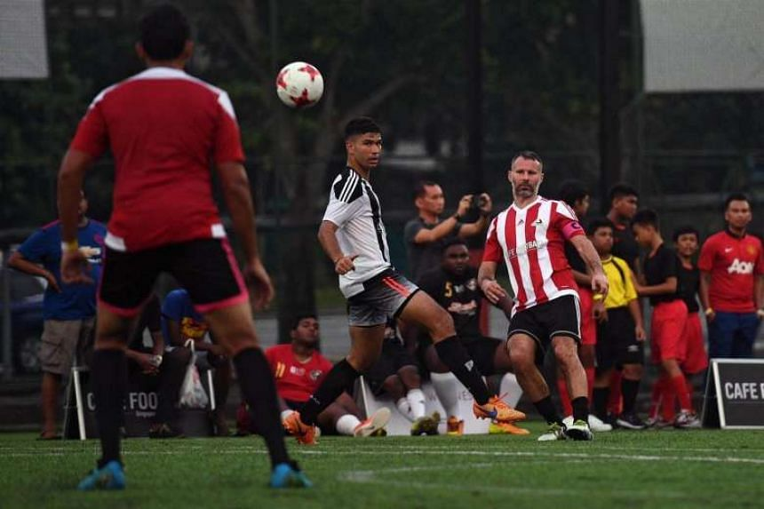 Manchester United legend Ryan Giggs in action while playing in the inaugural CF Cup Final, after the opening ceremony of The Arena and Cafe Football at Woodleigh Park on April 8, 2017.