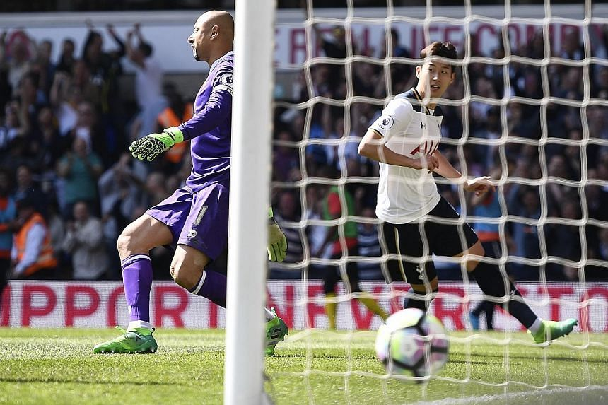 South Korea international Son Heung Min side-footing home his second goal and Tottenham's fourth in the 54th minute to complete the rout of Watford. The second- placed team's sixth straight league victory took them to 68 points from 31 games.