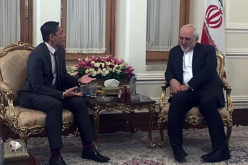 Senior Minister of State for Defence and Foreign Affairs Maliki Osman (at far left) calling on Iranian Foreign Minister Mohammad Javad Zarif during his five-day visit to Iran.