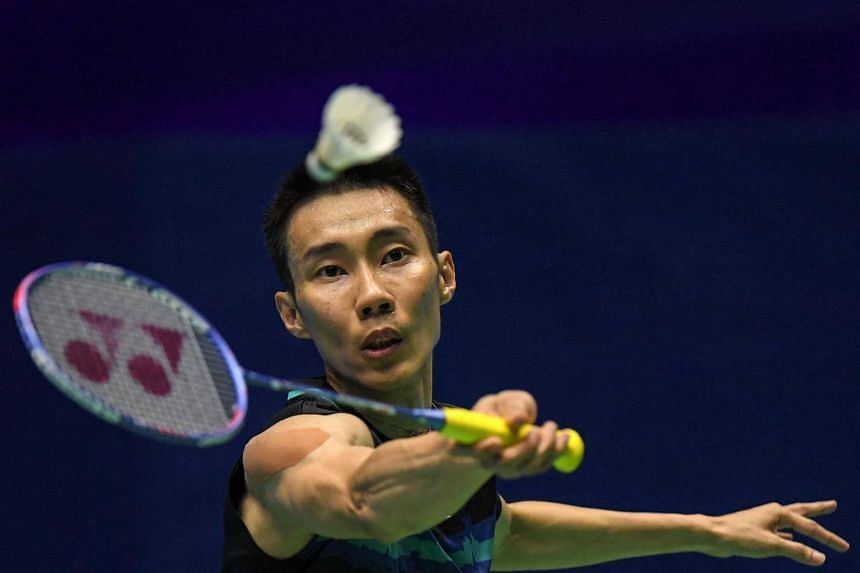 Lee Chong Wei of Malaysia hits a return during his men's singles quarter-final match at the Malaysia Open Badminton Superseries in Kuching, Sarawak, on April 7, 2017.