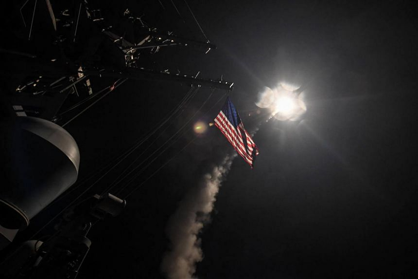 US Navy guided-missile destroyer USS Porter (DDG 78) conducts strike operations while in the Mediterranean Sea which US Defense Department said was a part of cruise missile strike against Syria, on April 7, 2017.