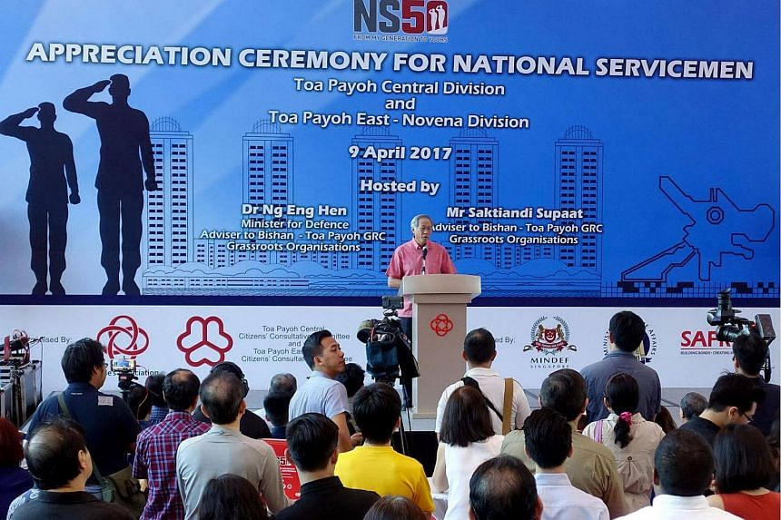 Defence Minister Ng Eng Hen speaks at an appreciation ceremony for national servicemen at Safra Toa Payoh on Sunday (April 9).