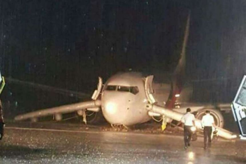 A Malaysia Airlines plane skidded off the runway during heavy rain at Sibu Airport on Saturday.