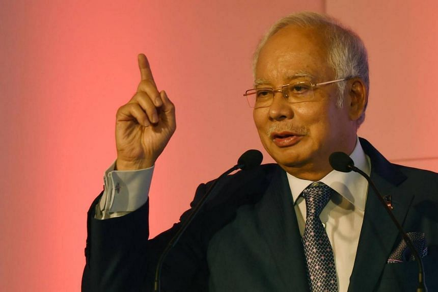 Malaysian Prime Minister Najib Razak speaking during the India-Malaysia Business Forum event in New Delhi, on April 3, 2017.