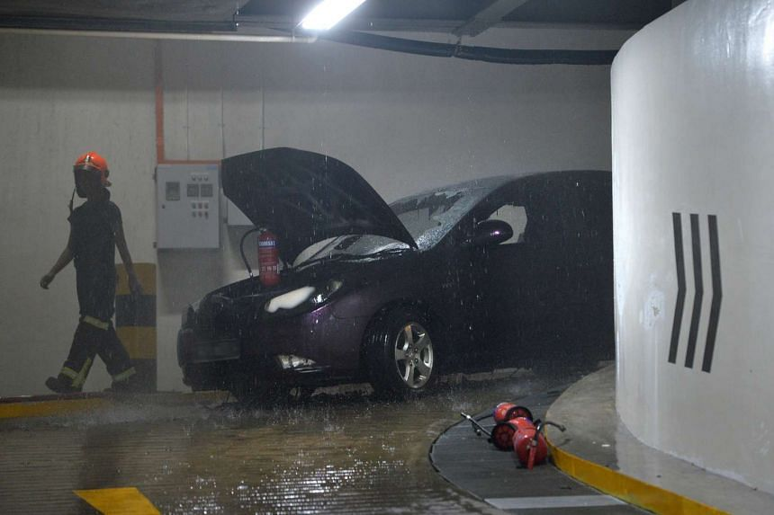 A car caught fire suddenly while entering the carpark at the basement of The Clementi Mall on Sunday (April 9).