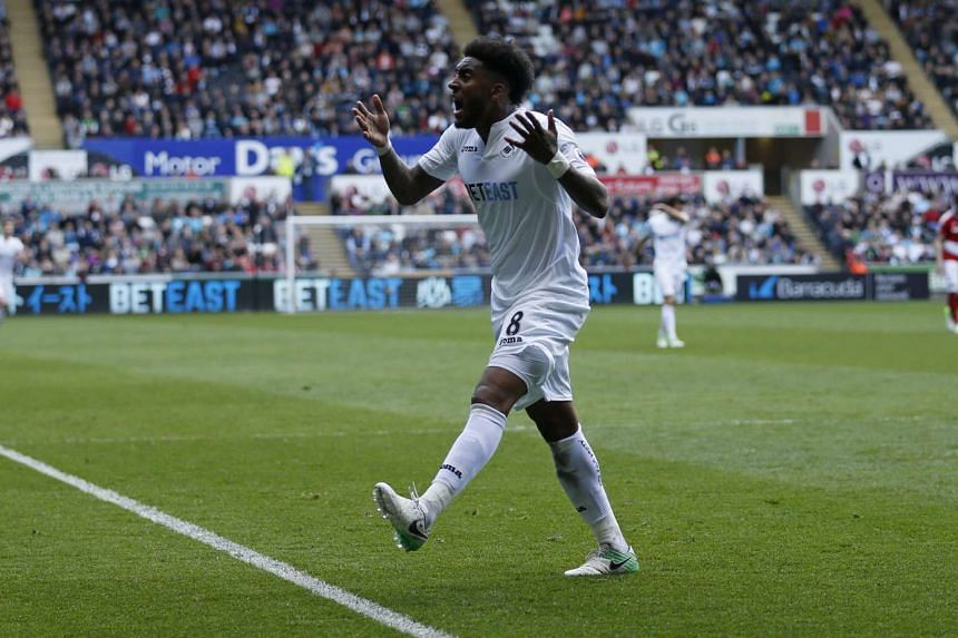 Swansea City's Leroy Fer at their match against Middlesbrough on April 2, 2017.