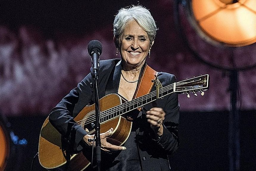 Electric Light Orchestra paid tribute to the late Chuck Berry; and Joan Baez (above), the sole woman among the inductees, at the ceremony.