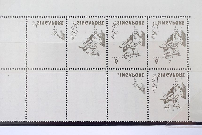 Wet ink from another sheet got transferred to the reverse side of these stamps of the 1968-1973 dance series, which are in Mr Hong's possession.