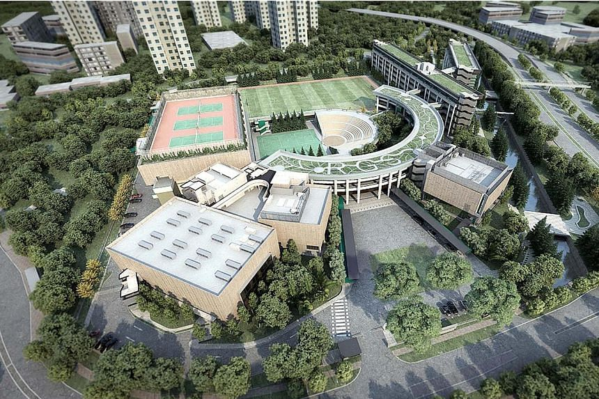 An artist's impression of Raffles Girls' School's new campus in Braddell Road, and the plot of land where the school will be built. The project's cost, previously reported to be $50 million, is being finalised. The school will have new learning space