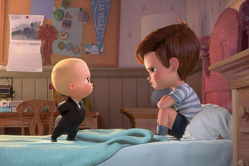 Boss Baby (voiced by Alec Baldwin) tries to convince Tim (voiced by Miles Bakshi) that they must cooperate in The Boss Baby.