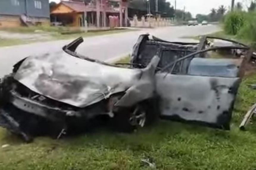 """Muar Fire and Rescue Department operations officer Nor Al Fatah Omar said, """"When we arrived at the scene, the car was totally burnt and we only managed to extricate one of the victims. We could not identify the car's registration plate."""""""