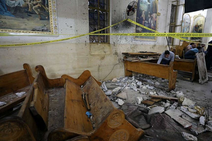 The aftermath of an explosion that took place at a Coptic church on Sunday (April 9) in Tanta, Egypt.