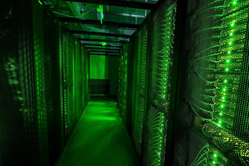 Servers for data storage at Advania's Thor Data Center in Hafnarfjordur, Iceland, on August 7, 2015.