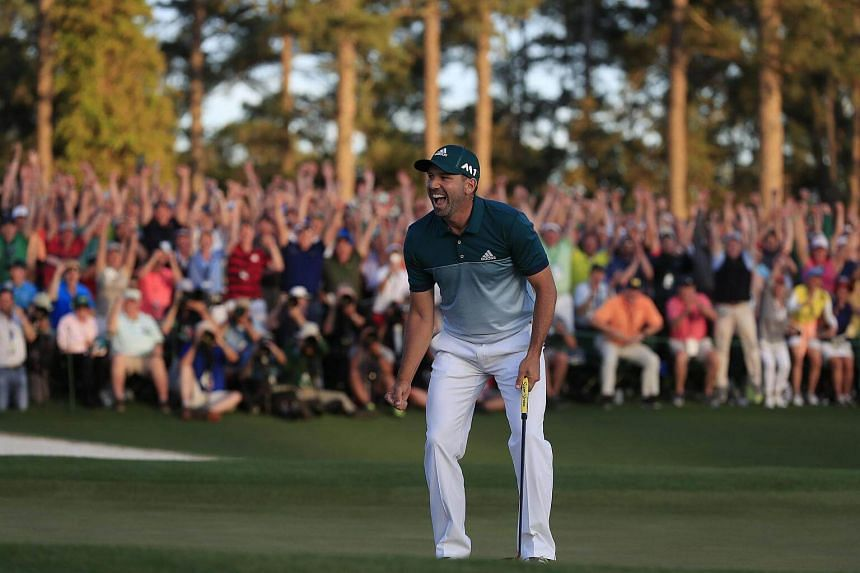 Sergio Garcia of Spain reacting after winning the Masters in a sudden death playoff over Justin Rose of England during the final round of the 2017 Masters Tournament, on April 9, 2017.
