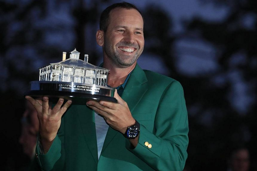Sergio Garcia of Spain holding the Masters Championship Trophy after winning the Masters in a sudden death playoff over Justin Rose of England during the final round of the 2017 Masters Tournament, on April 9, 2017.