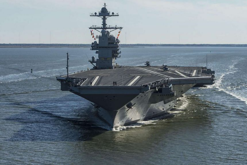 The USS Gerald R. Ford is seen underway on its own power for the first time on April 8, 2017.