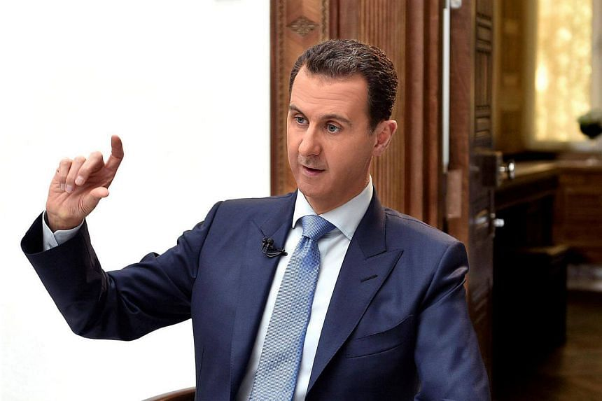 Syria's President Bashar al-Assad speaking during an interview with Croatian newspaper Vecernji List in Damascus, Syria, on April 6, 2017.