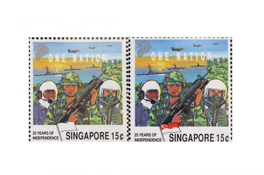 A printing error in the production of the 1990 One Nation stamp booklet resulted in the red colour going missing from the Singapore flag on the stamp on the left. The stamp on the right was printed correctly.