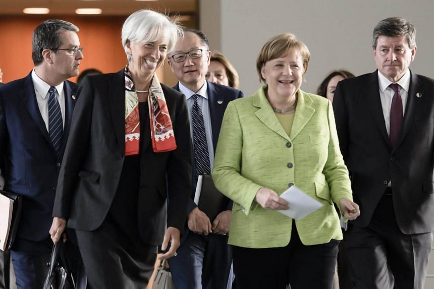 The chief of the International Monetary Fund (IMF), World Trade Organisation (WTO) and the Organisation for Economic Cooperation and Development (OECD) came together to defend free trade against creeping protectionist trends.