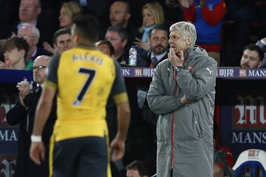 Arsenal manager Arsene Wenger looking dejected after a match between Crystal Palace and Arsenal, on April 10, 2017.