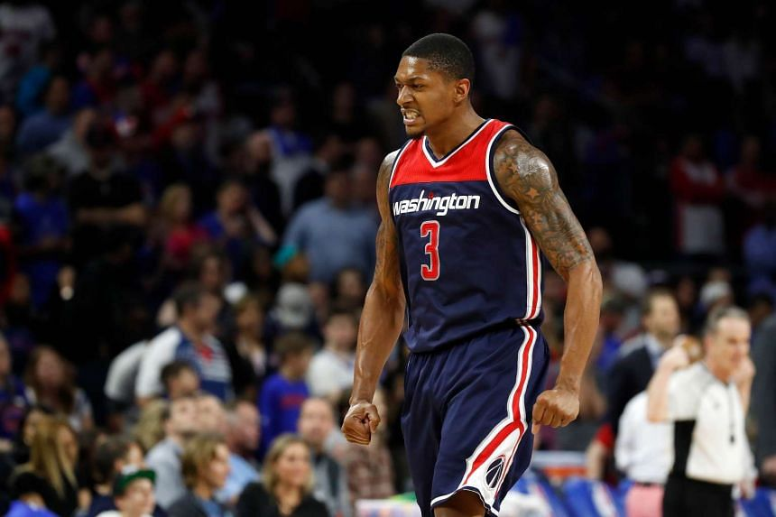 Bradley Beal No.3 of the Washington Wizards reacting while playing the Detroit Pistons at the final NBA game at the Palace of Auburn Hills, on April 10, 2017.