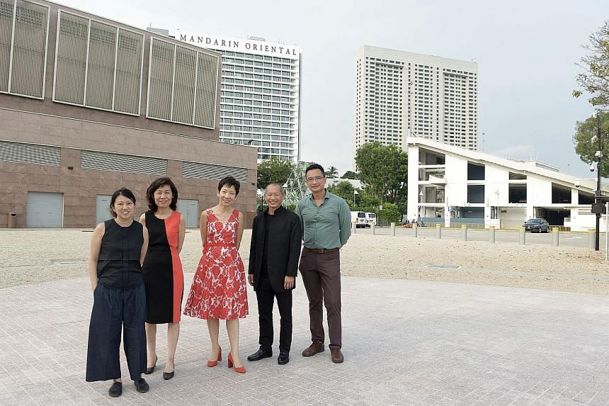 At the site of the future waterfront theatre are (from far left) Ms Yvonne Tham; National Arts Council CEO Rosa Daniel; Minister Grace Fu; Esplanade CEO Benson Puah; and Mr Yeo Whee Jim, senior director of the arts and heritage division at the Minist