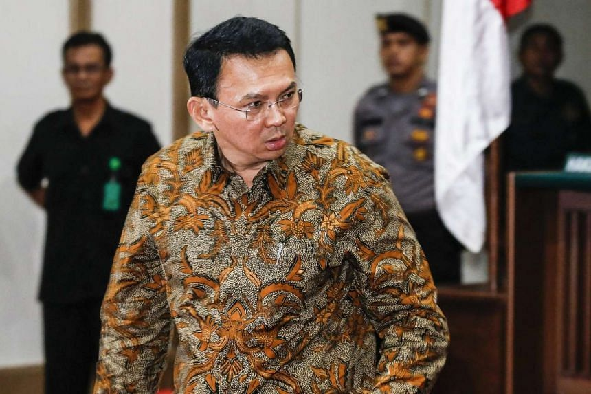 Jakarta's governor Basuki Tjahaja Purnama, popularly known as 'Ahok', looks on during his blasphemy trial at the North Jakarta District Court in Jakarta, Indonesia, on April 11, 2017. He is accused of insulting the Quran.