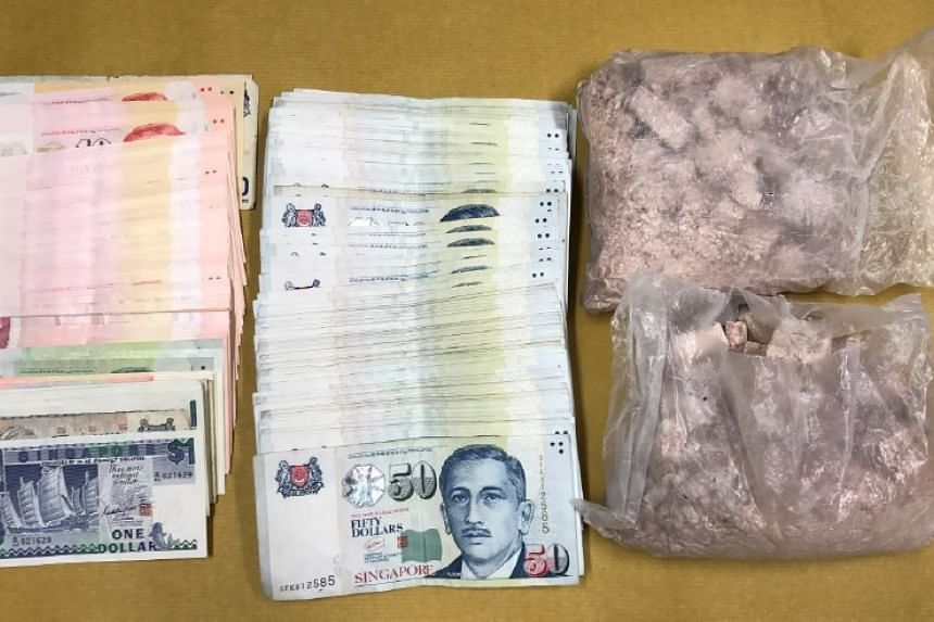 Drugs and cash seized in an operation on April 11, 2017.