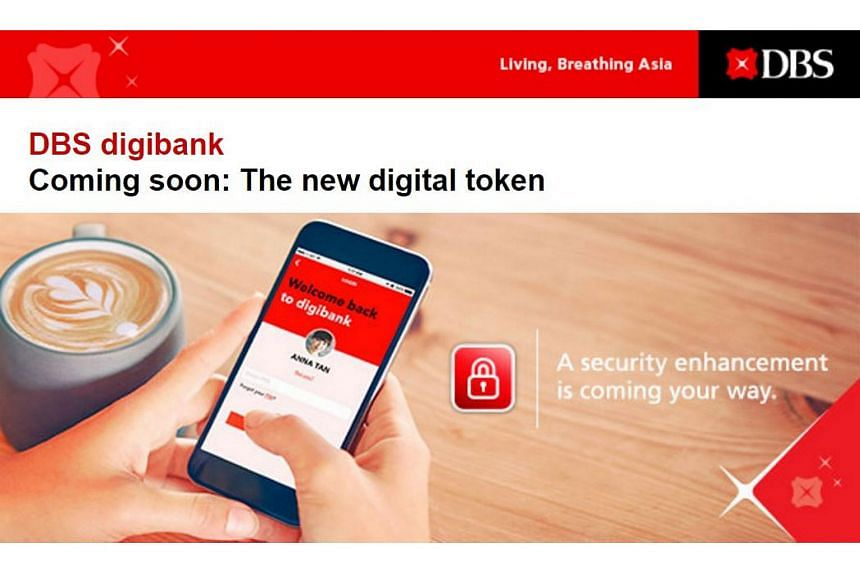 An e-mail sent by DBS to customers this week informing them of the new digital token.