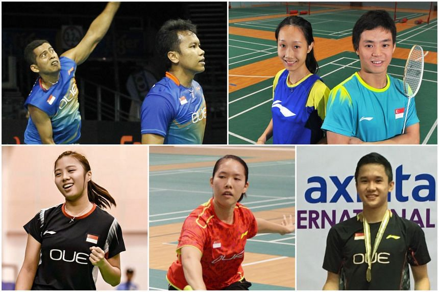 Clockwise from top left: Men's doubles combination Hendra Wijaya and Danny Bawa Chrisnanta; mixed doubles combination Tan Wei Han and Terry Hee; Ryan Ng; Grace Chua; and Yeo Jia Min will represent Singapore at the Superseries event, which begins Tues