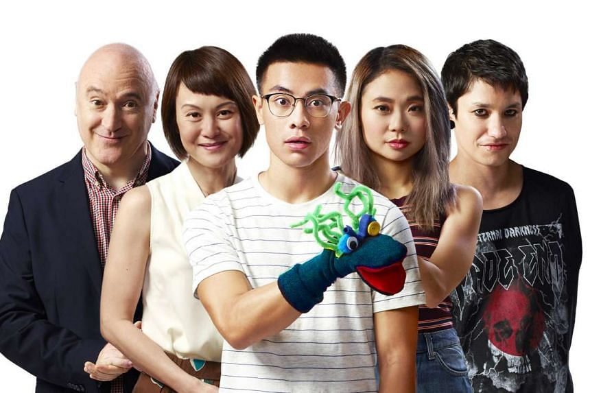 Hand To God's cast includes (from far left) Daniel Jenkins, Janice Koh, Thomas Pang, Ann Lek and Gavin Yap.
