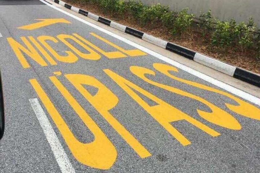 """The small apostrophe (above) made the road marking a source of mirth to motorists last Friday. The marking has since been painted over to read """"Nicoll H'way""""."""