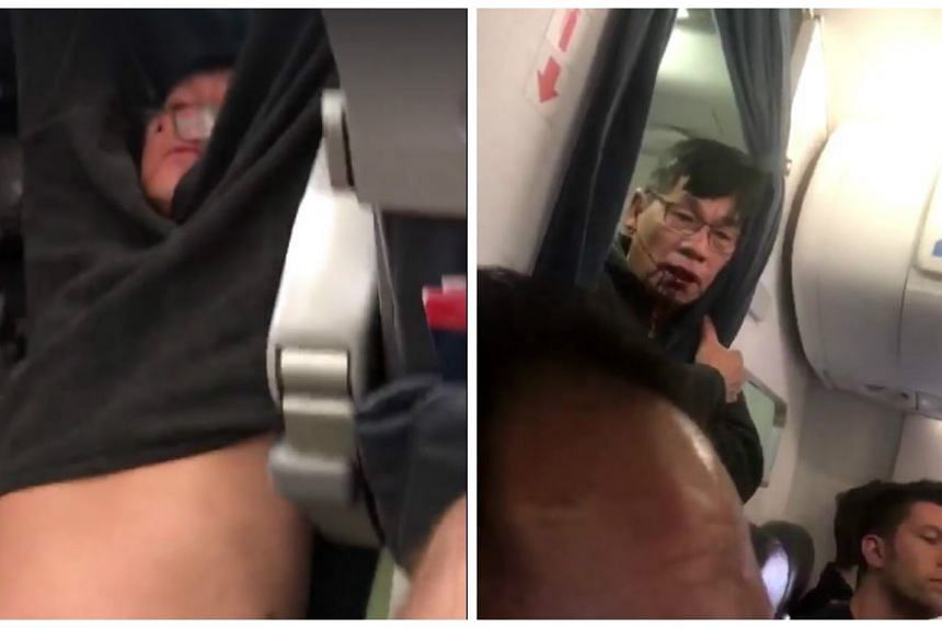 The videos taken by fellow passengers and posted to Twitter showed the man being forcibly pulled screaming from his seat by three security personnel.