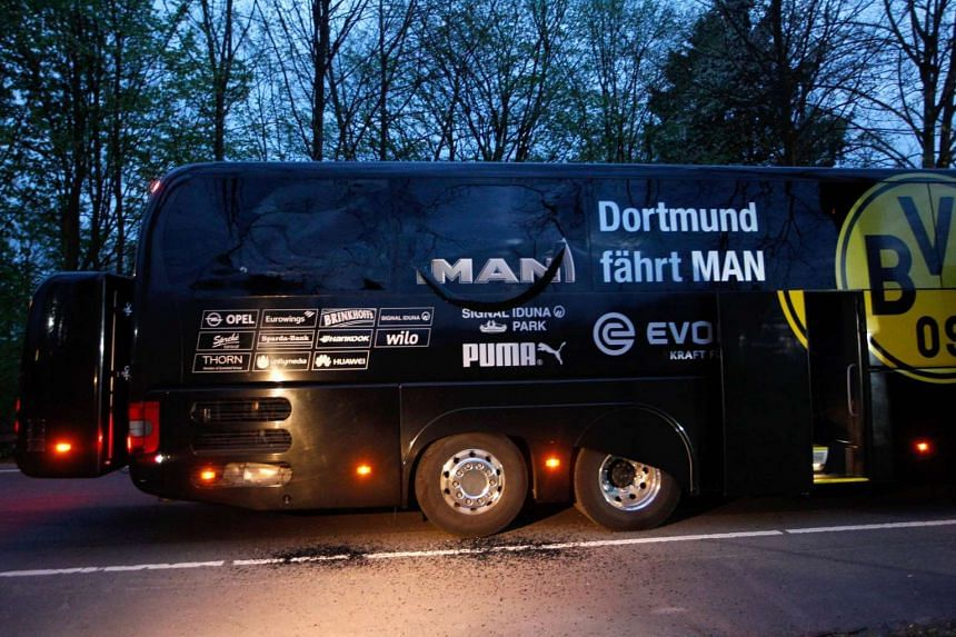 The Borussia Dortmund football team bus that was damaged in the attack.