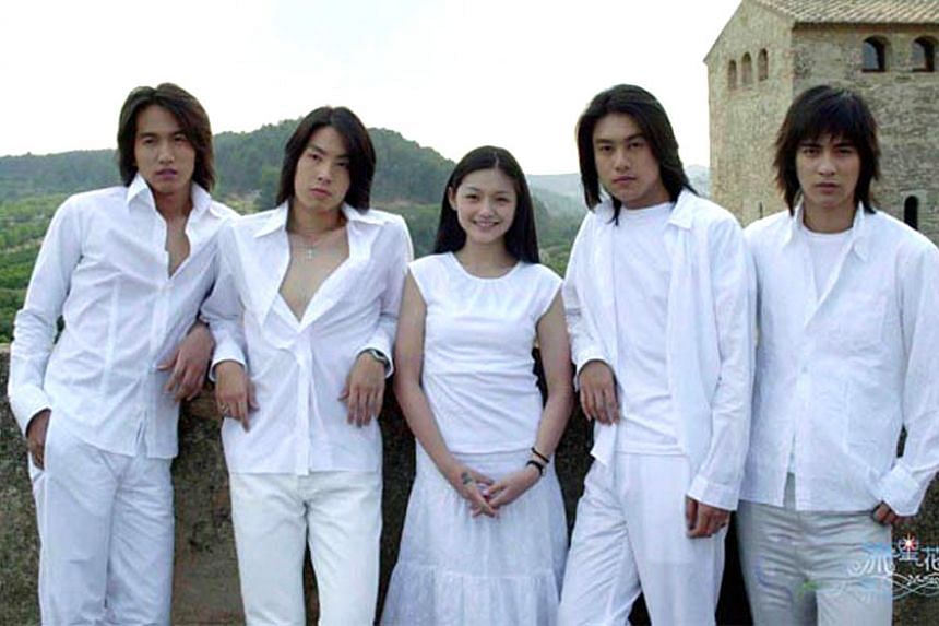 A television still from Meteor Garden II, featuring (from left) Jerry Yan, Van Ness Wu, Barbie Hsu, Ken Chu and Vic Chou.