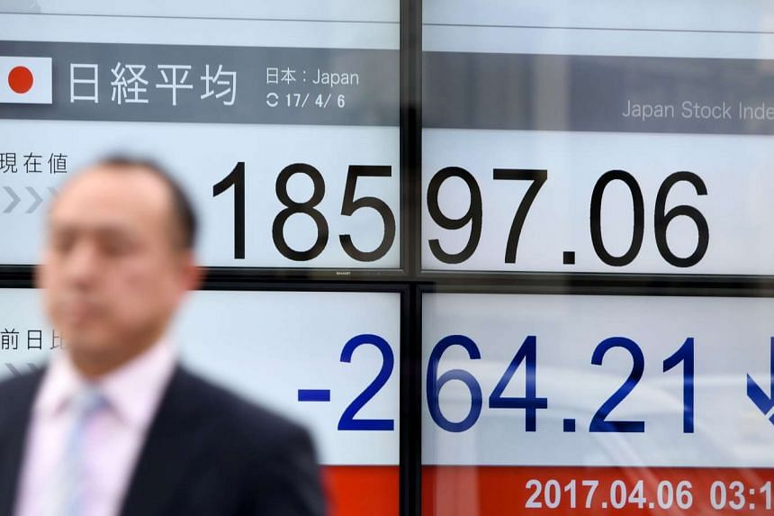 On April 12, Japan's Nikkei slid 1 per cent in early trade, while MSCI's broadest index of Asia-Pacific shares outside Japan was near flat.