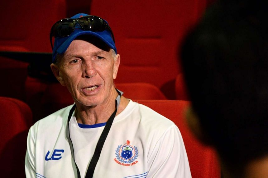 Head coach of Samoa Gordon Tietjens speaking to reporters ahead of the Singapore Rugby Sevens tournament in Singapore, on April 11, 2017.
