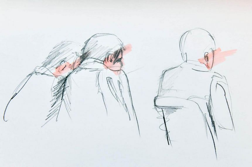 An artist's impression made and released on April 11, 2017 shows Uzbek national Rakhmat Akilov (centre) with his defence counsels during his remand hearing in the Stockholm District Court.