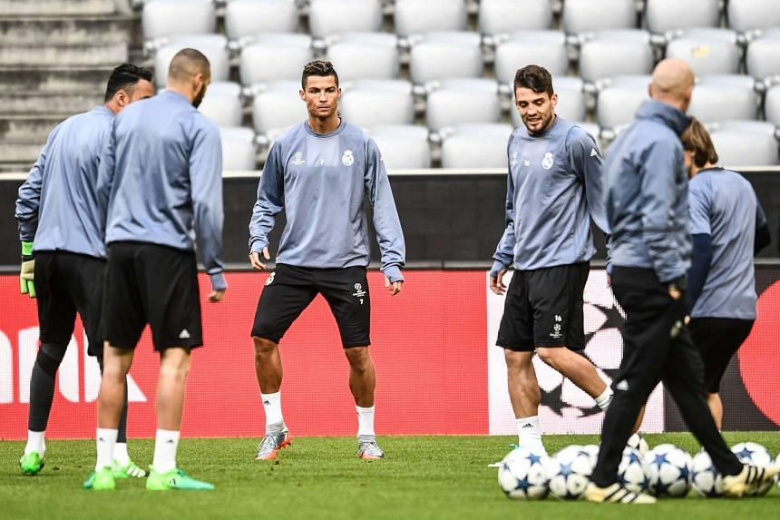Real Madrid players during a training session in Munich, Germany, on April 11.